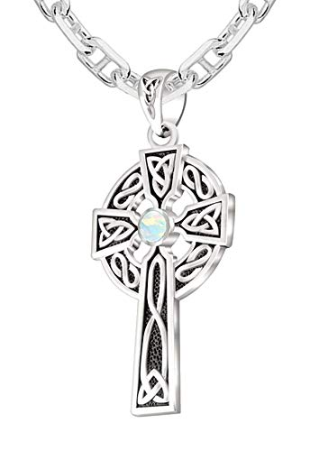 US Jewels Men's 925 Sterling Silver Synthetic Opal October Birthstone 1.5in Irish Celtic Knot Cross Pendant 2.9mm Marine Cable Necklace, 20in