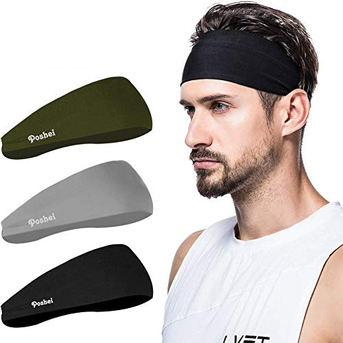 poshei Mens Headband, Mens Sweatband & Sports Headband for Running,Cycling, Yoga, Basketball - Stretchy Moisture Wicking Unisex Hairband, Black/Dark Green/Grey, Large (HD-1037)