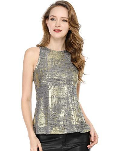 Allegra K Women's Party Shiny Sleeveless Camisole Club Shimmer Metallic Tank Top Medium Silver