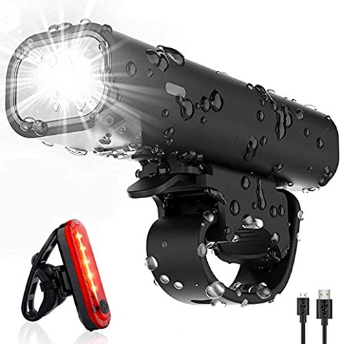 Jermous Ultra Bright USB Rechargeable Bike Light Set, 300 Lumen Super Bright Headlight Front Lights and Back Rear LED, 4 Light Mode Fits All Bicycles, Mountain, Road