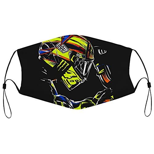 Best-design Valentino Rossi - Máscara ajustable cómoda para hombre y mujer para decoración de la cara, neutral y reutilizable con estilo lavable máscaras negras