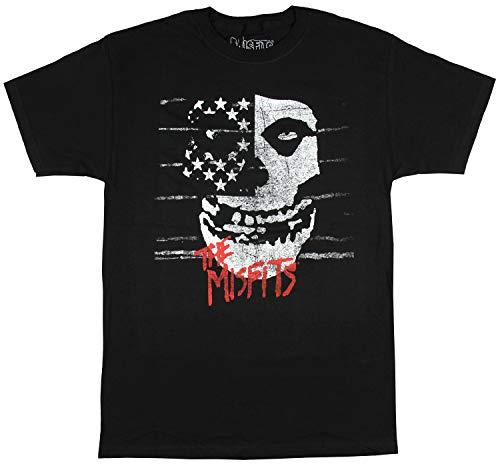 Misfits Men's American Fiend Distressed Skull T-Shirt (X-Large) Black