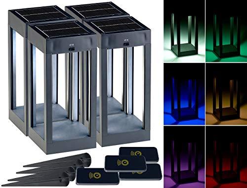 Lunartec LED Solar-Tischleuchte: 4er-Set Outdoor-Solar-Laterne, RGB+W-LEDs, Fernbedienung, 80 lm, 1 W (Deko Solartischleuchte)