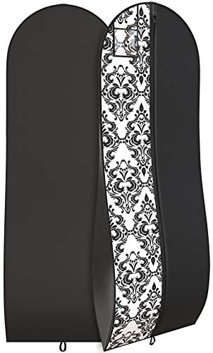 """Your Bags Travel Garment Bag 72 x 24"""" for Dress - 10"""" Tapered Gusset Black (Black and White Demask)"""