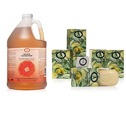 Jabón de Castilla con aroma a naranja líquido – Barras de jabón veganas y puras de Castilla de 1 galón – Paquete de 6 (5 oz cada una) – Jabón orgánico sin perfume – Todo aceite de oliva vegano y jabón de manteca de cacao
