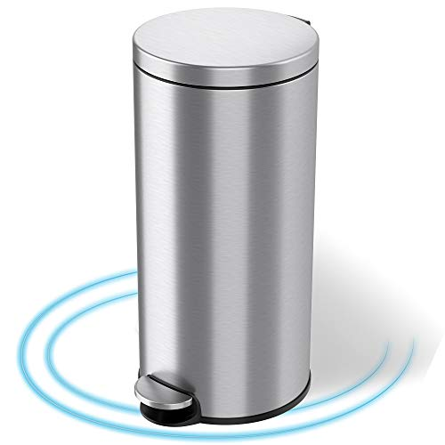iTouchless Stainless Steel 30 Liter Pedal Garbage Bin for Kitchen Bathroom Office Quiet Lid Close SoftStep Step Trash Can with AbsorbX Odor Filter and Removable Inner Bucket Round 8 Gallon