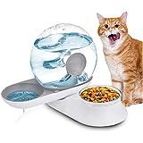 Lacyie 2 in 1 Comedero y Bebedero Automático para Gatos y Perros, 2.8L Fuente de Agua Automática para Perros Gatos y Mascotas Anti Salpicaduras Alimentador Automatico Fuentes para Mascotas.