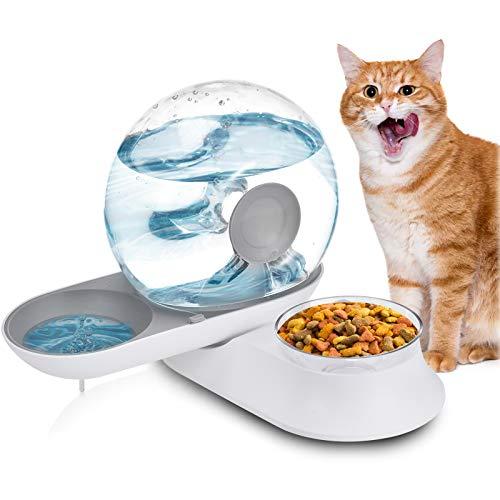 Distributore Acqua e Cibo per Gatti e Cani, Lacyie 2 in 1 Dispenser Automatico Crocchette e d'Acqua con 2.8L Fontanella & 240g Ciotola 180° Rotatable Pet Feeder per Alimenti