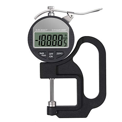 Neoteck - Medidor de grosor digital portátil de 0 a 25,4 mm, rango de 0,01/0,0005 pulgadas, micrómetro electrónico con pantalla LCD precisa