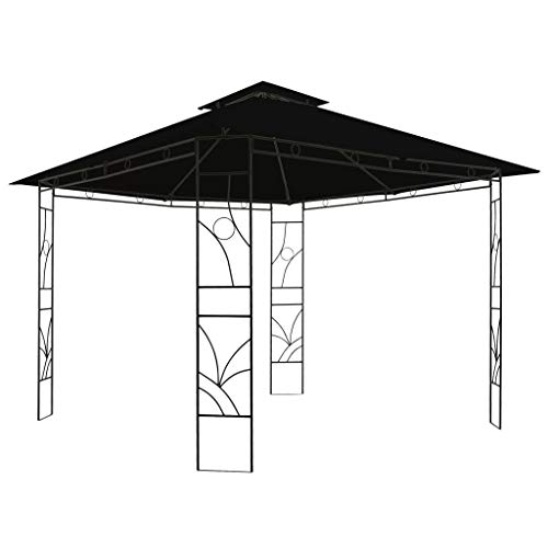 Festnight Gazebo Patio Sunshade Shelter for Gatherings, Weddings, BBQ Parties, Camping 300x300x300 cm Anthracite Square