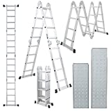 Champion Ladders Aluminium Multipurpose Combination Ladder with Top Plates and Working Shelf