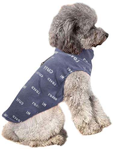 YAODHAOD Hundevlies Weste Premium Hundekleidung für kleine Hunde Junge oder Mädchen - Pullover Hundejacke mit Leinenring Mittelgroßer Hund Katze Hund Pullover Dackel Chihuahua(L, Buchstabenmuster)