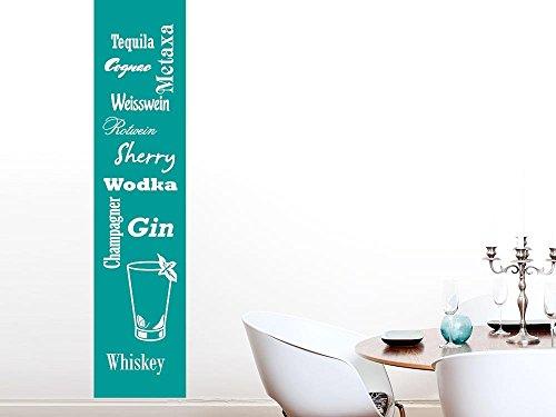 Wandtattoo Aufkleber Wandtattoo Banner für Küche Spruch Wodka Gin Glas Getränk (250x57cm//061 grün)