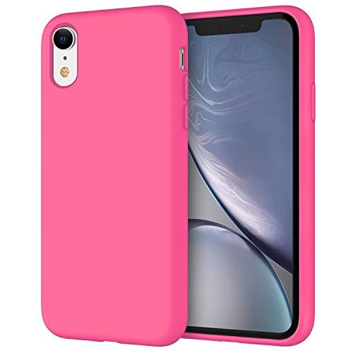 JETech Funda de Silicona Compatible iPhone XR, 6,1', Sedoso-Tacto Suave, Cubierta a Prueba de Golpes con Forro de Microfibra, Pitaya