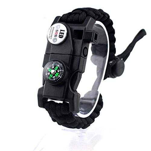 N \ A Paracord Bracelet Buckle Survival, Loud Whistle Emergency Compass Survival Fire Starter Knife Accessories for Hiking, Camping, Fishing and Hunting Gear Kit