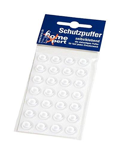 Home Xpert 28er Pack Schutzpuffer, Anschlagpuffer, Möbelpuffer, Anschlagdämpfer, Elastikpuffer, flach, transparent, selbstklebend, Ø 12 mm, Höhe 1,5 m