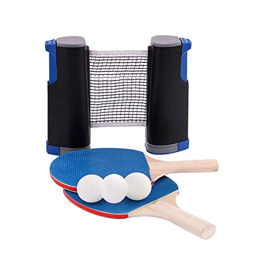BnaFortna Instant Ping Pong Ball Set,Ping Pong Paddle Set,Portable Extendable Table Tennis Game Indoor Outdoor,include 2 Blue Table Tennis Bats,3 White Balls,1 Black Retractable Table Tennis Nets