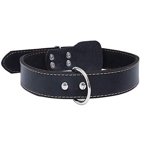 Sweety Moomoo - Perros Collares de piel para perro de piel auténtica, para perros medianos y grandes(XL (48 – 64 cm), color negro