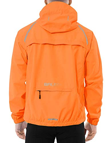 BALEAF Men's Cycling Running Jacket Waterproof Reflective Lightweight Windbreaker Windproof Bike Jacket Hooded Packable Orange Size XL