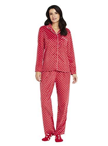 Karen Neuburger Women's Plus Size Long Sleeve Minky Fleece Pajama Set PJ, Dot Cherry Red/White, 1X