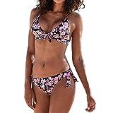 LHWY Mujer Bikini Traje de Baño Bañador Push Up Swimwear Bikini BrasileñO Conjunto Halter Retro Beach Trajes De BañO Swimwear Tankini Trikini (Rosa S