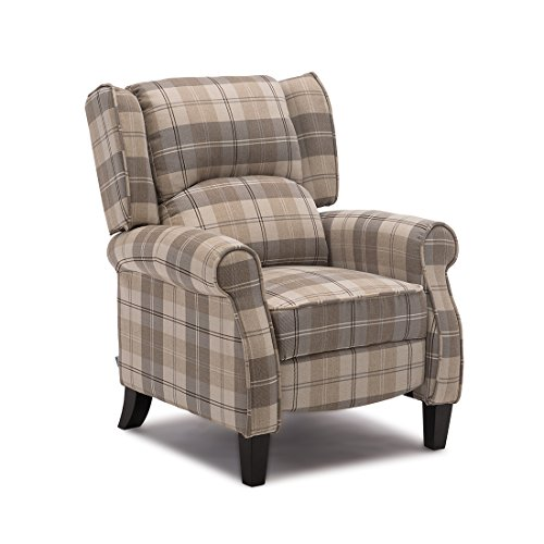 More4Homes EATON WING BACK FIRESIDE CHECK FABRIC RECLINER ARMCHAIR SOFA CHAIR RECLINING CINEMA (Beige)
