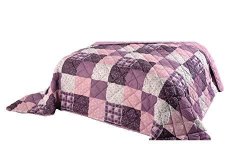 EXKLUSIV HEIMTEXTIL Tagesdecke XXL Bettüberwurf Steppdecke Picknickdecke 220x240 cm Patch Violetta