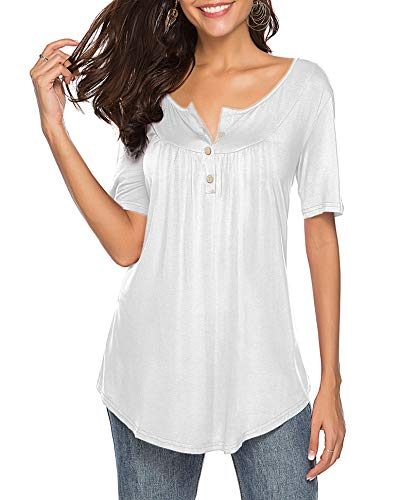 Sarin Mathews Womens Shirts Casual Tee Shirts V Neck Short Sleeve Button Up Tunic Tops Blouses White XL