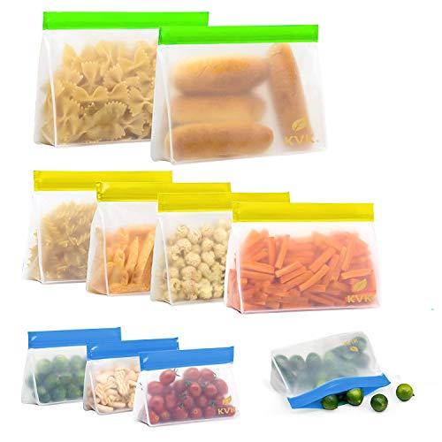 Reusable Storage bags 10Pack 4 Ziplock Sandwich Bags  4 Reusable Snack Bags  2 Leakproof Reusable Gallon Bags BPAFree Freezer Ziplock Lunch Bags Leakproof Reusable Food Bags