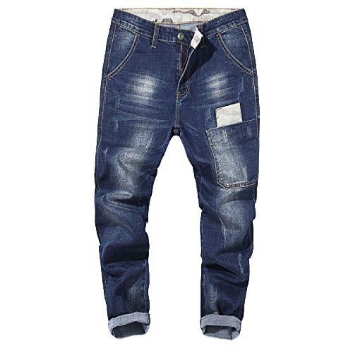 Beastle Jeans para Hombres Trendy Summer Loose Stretch Big Pocket Jeans Tendencia Europea y Americana Jeans Casuales de Todo fósforo 40