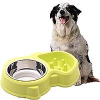 ZT-TTHG アンチスリップ簡単にきれいなペット犬食べるフィーダーボウル耐久性のあるアンチ窒息犬食品ボウルスローダウン食べるフィーダーボウル (Color : GREEN)