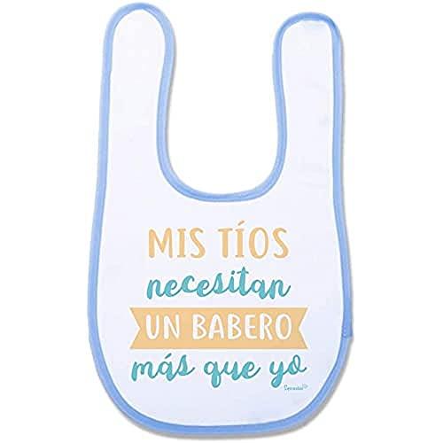 """SUPERMOLON 01812 -""""Mis Tíos Necesitan Un Babero Más Que Yo"""" Babero Bebe con Velcro, Azul Celeste, unisex"""