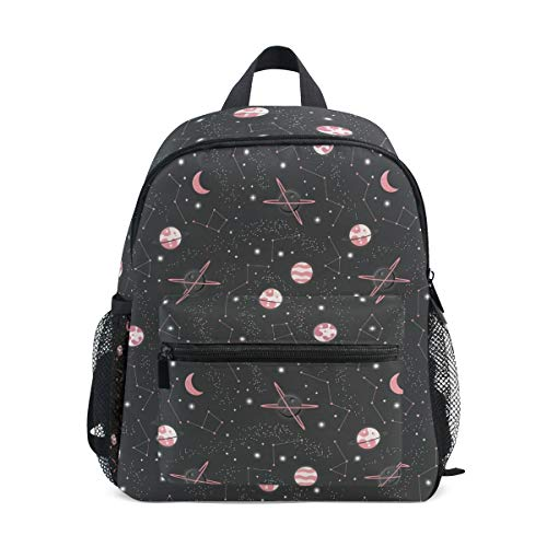 Black Universe Toddler Backpack Bookbag Mini Shoulder Bag for 1-6 Years Travel Boys Girls Kids with Chest Strap Clip Whistle