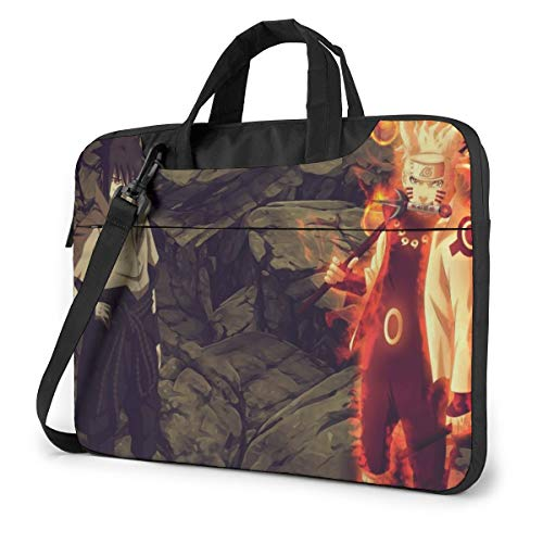 13-15.6 Inch Convertible Laptop Shoulder Messenger Bag, Anime Sasuke Uchiha Naruto Uzumaki 4th War Travel Bags with Adjustable Strap, Computer Carrying Case for Tablet Ultrabook