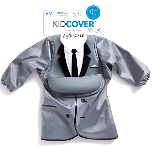 KidDazzle One Piece Tiny Tux KidCover- Cute Silicone Baby Boy Bib - Adjustable Size - Waterproof and Stain Resistant to Baby Food - Babies 6 Months + (Tiny Tux)