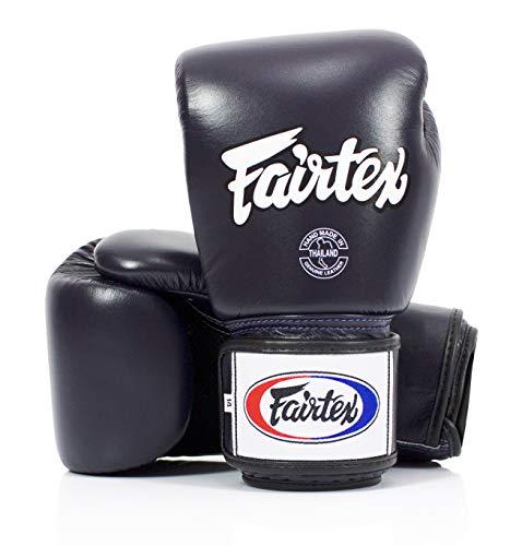Fairtex Guantes de boxeo Muay Thai BGV1-BR transpirables, color negro sólido, tamaño:...