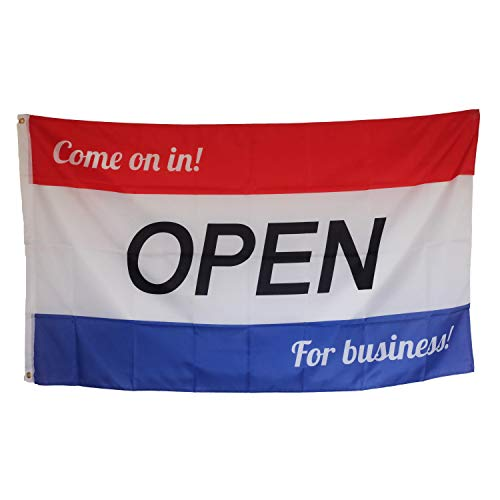 Open Flag - Come on in Open for Business Flag - 3x5 Foot Polyester Indoor Outdoor Flag - Premium Abrasion Resistant Flag