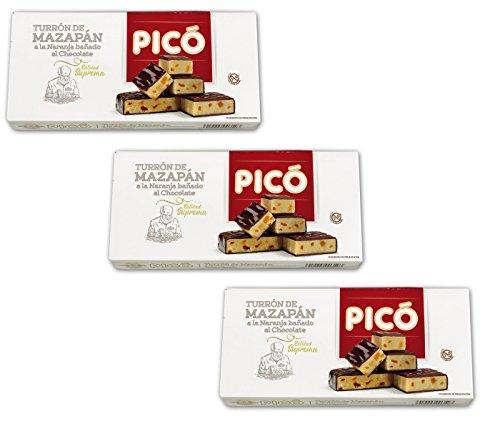 'Picó - Il pacchetto include 3 Turrón de mazapán a la naranja bañado al chocolate -Torrone di marzapane arancione immerso nel cioccolato - Qualità suprema 200gr'
