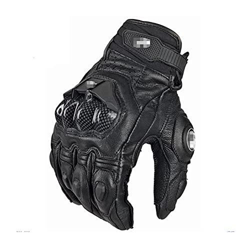 Pingping ZZPING Guantes de Motocicleta Black Racing Cuero Genuino Moto de Cuero Blanco Racing Team Glove Hombres Verano Invierno (Color : Leather Black, Size : L)