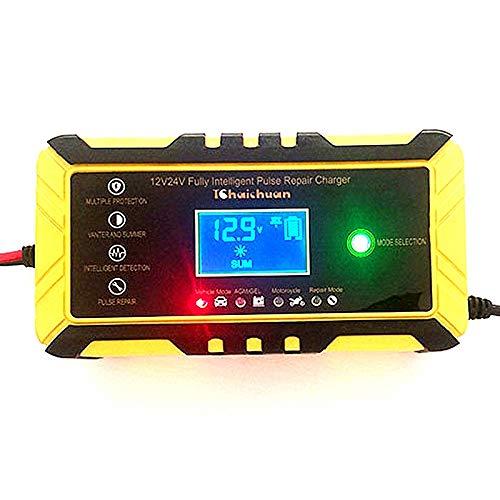 GOZAR 12V 8A/24V 4A Inversa Proteccion Auto Batería Cargador Inteligente Carga Rapida Batería Cargador