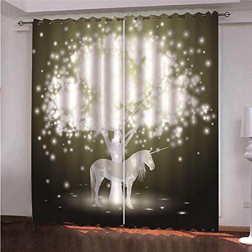 DOORWD Tenda Oscurante Termica Isolante con Occhielli Tende Cavallo Stella 2 Pannello per Finestre Soggiorno Interni 150 cm x 166 cm