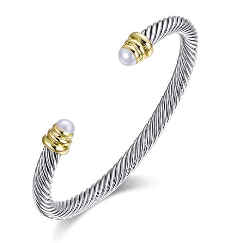Brass Alloy Cable Wire Composite Shell Pearl Cuff Bracelet David Yurman Gold Bracelet