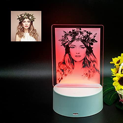 lampara personalizada con tu foto(Base blanca, 9x16cm)