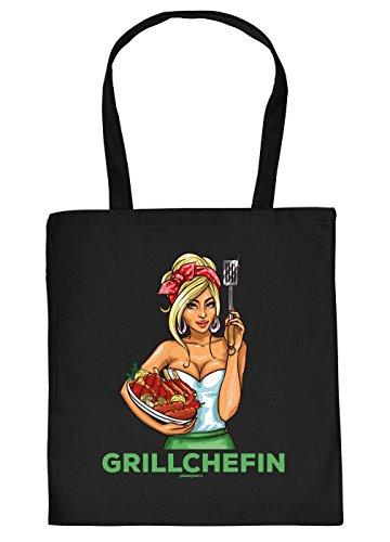 Griller Tasche Grillzubehör Tragetasche Grill : Grillchefin - Sprüche Baumwolltasche Grillen -Farbe: schwarz