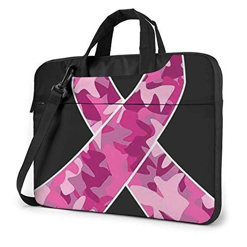 Hdadwy Camo Pink Ribbon (2) Printed Laptop Shoulder Bag,Laptop case Handbag Business Messenger Bag Briefcase 15.6 inch