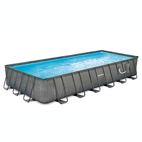 Summer Waves 24ft x 12ft x 52in Above Ground Outdoor Rectangle Frame Swimming Pool Set with Filter Pump, Pool Cover, Ladder, and Ground Cloth