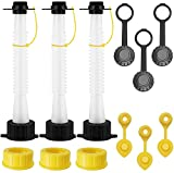 EONLION Gas Can Replacement Spout Kit, Flexible Pour Nozzle with Gasket, Stopper Caps, Collar Caps, Stripe Cap, Spout Kit for Water Jugs and Old Can, 3 Pack