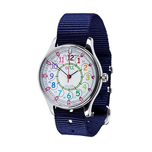 EasyRead Time Teacher WERW-COL-24-PU Armbanduhr, Regenbogen-Zifferblatt, 24 Stunden wasserdicht, violettes Armband, marineblau, 1