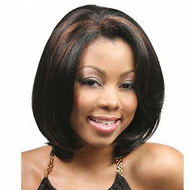 Peluca sinttica para mujer, corta, recta, negra, parte media, peluca africana americana, peluca para disfraz de Halloween