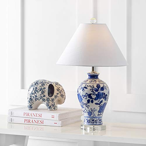 "Song 21.5"" Ceramic/Crystal Chinoiserie Floral LED Lamp Classic,Cottage,Farmhouse for Bedroom, Living Room, Office, College Dorm, Coffee Table, Bookcase, Blue/White - JONATHAN Y JYL6613A"